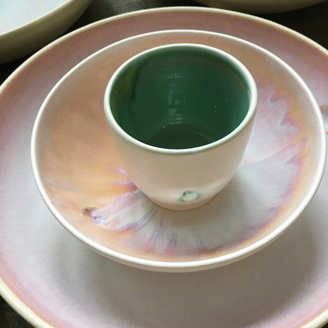 Soft Pink Glaze bowl and plate and Gentle Green Beaker