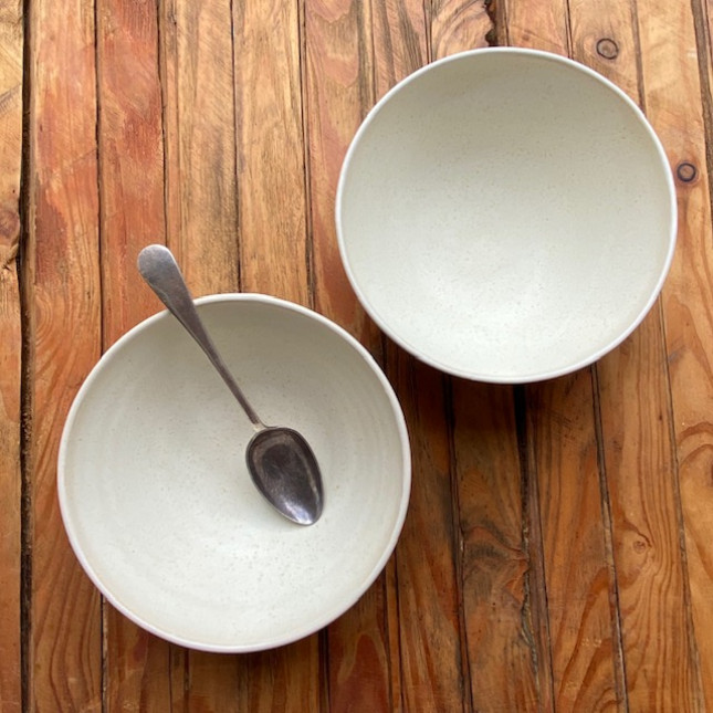 Pair of Large Breakfast bowls glazed in Light Oatmeal