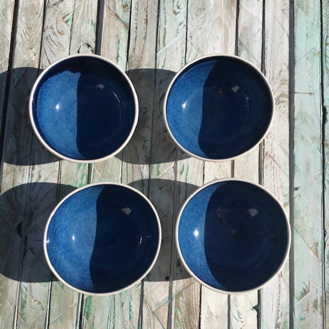 Set of Four Wonky Blue Breakfast Bowls