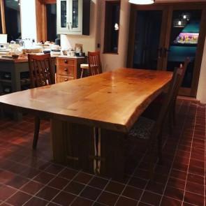 Oak table on oak slab style base
