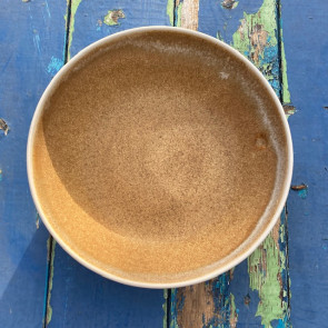Large Dark Oatmeal and Cream Serving Bowl