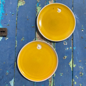 Set of Two Very Yellow Dessert Plates