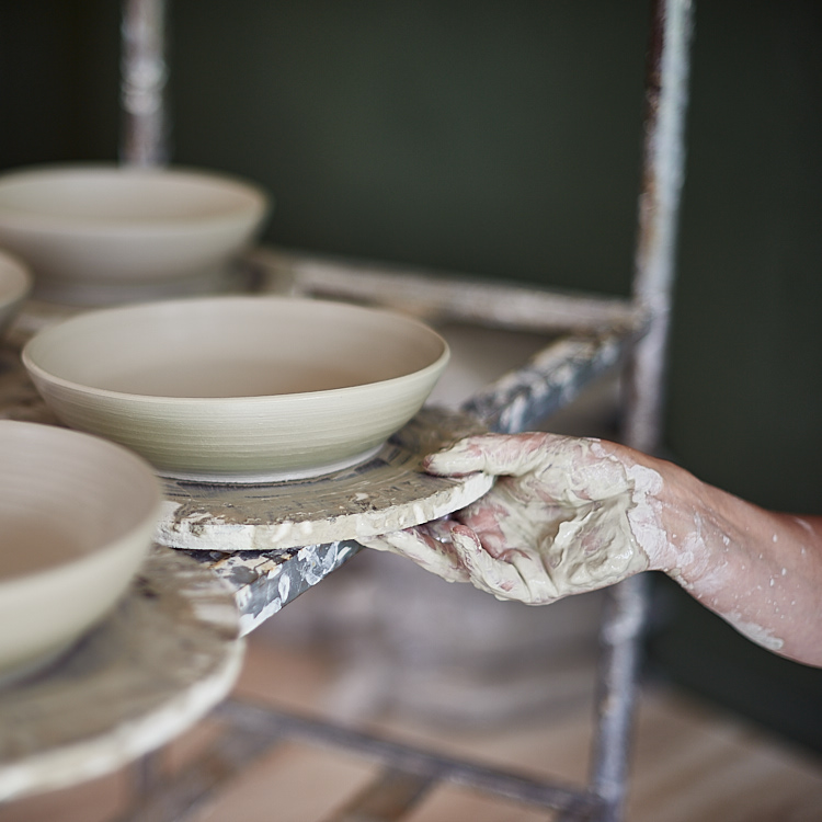 All pieces are hand thrown by Gill